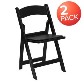 Marvelius Series Folding Chairs with Padded Seats | Set of 2 Black Resin Folding Chair with Vinyl Padded Seat