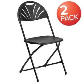 2 Pk. Marvelius Series 650 lb. Capacity Black PlParkerc Fan Back Folding Chair
