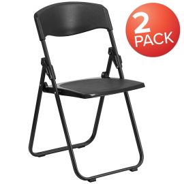 2 Pk. Marvelius Series 880 lb. Capacity Heavy Duty Black PlParkerc Folding Chair with Built-in Ganging Brackets