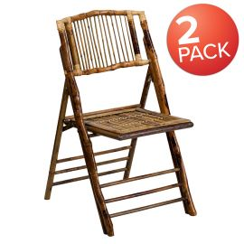 Bamboo Folding Chairs  Set of 2 Bamboo Wood Folding Chairs