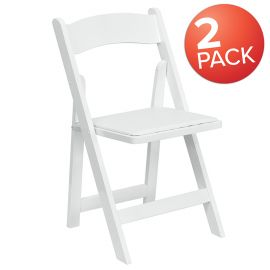 2 Pk. Marvelius Series White Wood Folding Chair with Vinyl Padded Seat