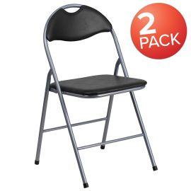 2 Pk. Marvelius Series Black Vinyl Metal Folding Chair with Carrying Handle