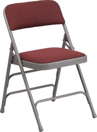 Marvelius Series Curved Triple Braced & Double Hinged Burgundy Patterned Fabric Metal Folding Chair