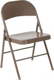 Marvelius Series Double Braced Beige Metal Folding Chair