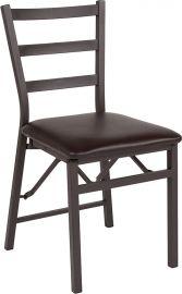 Marvelius Series Brown Folding Ladder Back Metal Chair with Brown Vinyl Seat