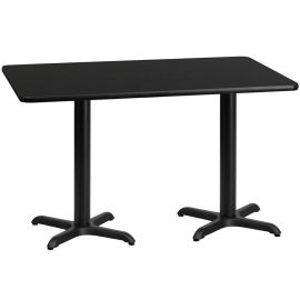 30'' x 60'' Rectangular Black Laminate Table Top with 22'' x 22'' Table Height Bases
