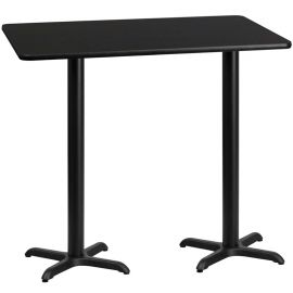 30'' x 60'' Rectangular Black Laminate Table Top with 22'' x 22'' Bar Height Table Bases