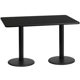 30'' x 60'' Rectangular Black Laminate Table Top with 18'' Round Table Height Bases