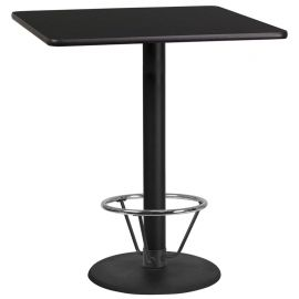 36'' Square Black Laminate Table Top with 24'' Round Bar Height Table Base and Foot Ring