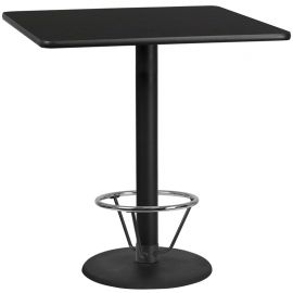 42'' Square Black Laminate Table Top with 24'' Round Bar Height Table Base and Foot Ring