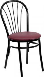 Marvelius Series Fan Back Metal Chair - Burgundy Vinyl Seat