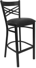Marvelius Series Black ''X'' Back Metal Restaurant Barstool - Black Vinyl Seat