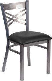 Marvelius Series Clear Coated ''X'' Back Metal Restaurant Chair - Black Vinyl Seat