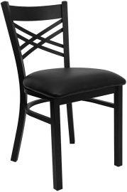 Marvelius Series Black ''X'' Back Metal Restaurant Chair - Black Vinyl Seat