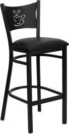 Marvelius Series Black Coffee Back Metal Restaurant Barstool - Black Vinyl Seat