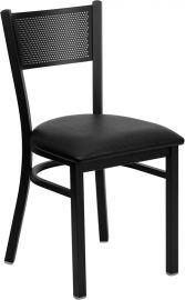 Marvelius Series Black Grid Back Metal Restaurant Chair - Black Vinyl Seat