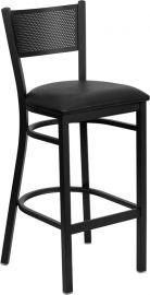 Marvelius Series Black Grid Back Metal Restaurant Barstool - Black Vinyl Seat