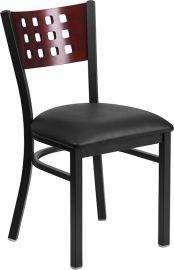 Marvelius Series Black Cutout Back Metal Restaurant Chair - Mahogany Wood Back, Black Vinyl Seat