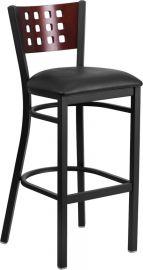 Marvelius Series Black Cutout Back Metal Restaurant Barstool - Mahogany Wood Back, Black Vinyl Seat