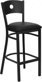 Marvelius Series Black Circle Back Metal Restaurant Barstool - Black Vinyl Seat