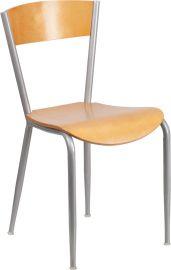 Citadel Series Silver Metal Restaurant Chair - Natural Wood Back & Seat