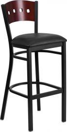 Marvelius Series Black 4 Square Back Metal Restaurant Barstool - Mahogany Wood Back, Black Vinyl Seat