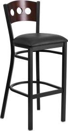 Marvelius Series Black 3 Circle Back Metal Restaurant Barstool - Walnut Wood Back, Black Vinyl Seat