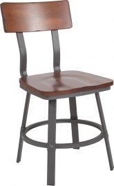 Quartz Series Rustic Walnut Restaurant Chair with Wood Seat & Back and Gray Powder Coat Frame