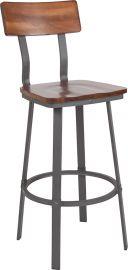 Quartz Series Rustic Walnut Restaurant Barstool with Wood Seat & Back and Gray Powder Coat Frame