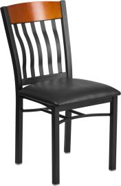 Shadow Series Vertical Back Black Metal and Cherry Wood Restaurant Chair with Black Vinyl Seat