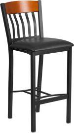 Shadow Series Vertical Back Black Metal and Cherry Wood Restaurant Barstool with Black Vinyl Seat