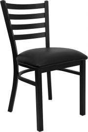 Marvelius Series Black Ladder Back Metal Restaurant Chair - Black Vinyl Seat