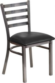 Marvelius Series Clear Coated Ladder Back Metal Restaurant Chair - Black Vinyl Seat