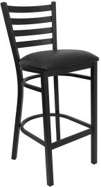 Marvelius Series Black Ladder Back Metal Restaurant Barstool - Black Vinyl Seat