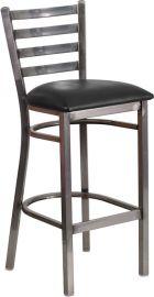 Marvelius Series Clear Coated Ladder Back Metal Restaurant Barstool - Black Vinyl Seat