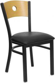 Marvelius Series Black Circle Back Metal Restaurant Chair - Natural Wood Back, Black Vinyl Seat
