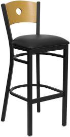 Marvelius Series Black Circle Back Metal Restaurant Barstool - Natural Wood Back, Black Vinyl Seat