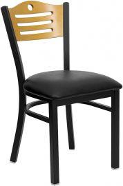 Marvelius Series Black Slat Back Metal Restaurant Chair - Natural Wood Back, Black Vinyl Seat