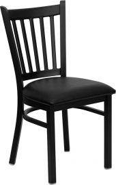 Marvelius Series Black Vertical Back Metal Restaurant Chair - Black Vinyl Seat