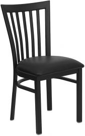 Marvelius Series Black School House Back Metal Restaurant Chair - Black Vinyl Seat