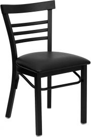 Marvelius Series Black Three-Slat Ladder Back Metal Restaurant Chair - Black Vinyl Seat