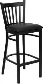 Marvelius Series Black Vertical Back Metal Restaurant Barstool - Black Vinyl Seat