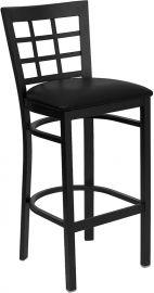 Marvelius Series Black Window Back Metal Restaurant Barstool - Black Vinyl Seat