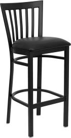 Marvelius Series Black School House Back Metal Restaurant Barstool - Black Vinyl Seat