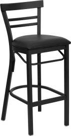 Marvelius Series Black Two-Slat Ladder Back Metal Restaurant Barstool - Black Vinyl Seat