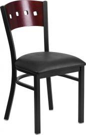 Marvelius Series Black 4 Square Back Metal Restaurant Chair - Mahogany Wood Back, Black Vinyl Seat