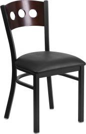 Marvelius Series Black 3 Circle Back Metal Restaurant Chair - Walnut Wood Back, Black Vinyl Seat