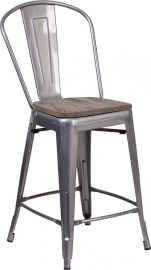 "24"" High Clear Coated Counter Height Stool with Back and Wood Seat"
