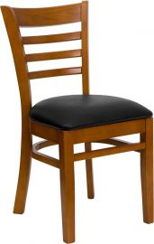 Marvelius Series Ladder Back Cherry Wood Restaurant Chair - Black Vinyl Seat