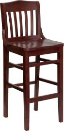 Marvelius Series School House Back Mahogany Wood Restaurant Barstool